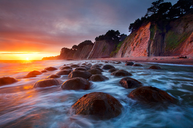 Sunset at Bowling Ball Beach, Point Arena, California