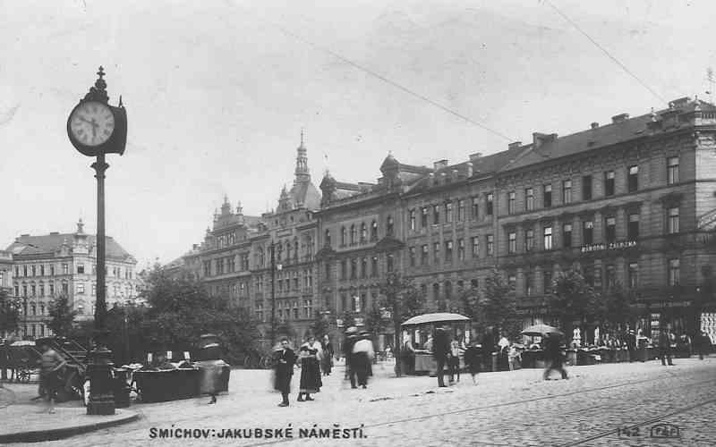 Smichov-Jakubske-Namesti-Prague-Praha-Czech-Czechoslovakia-Postcard