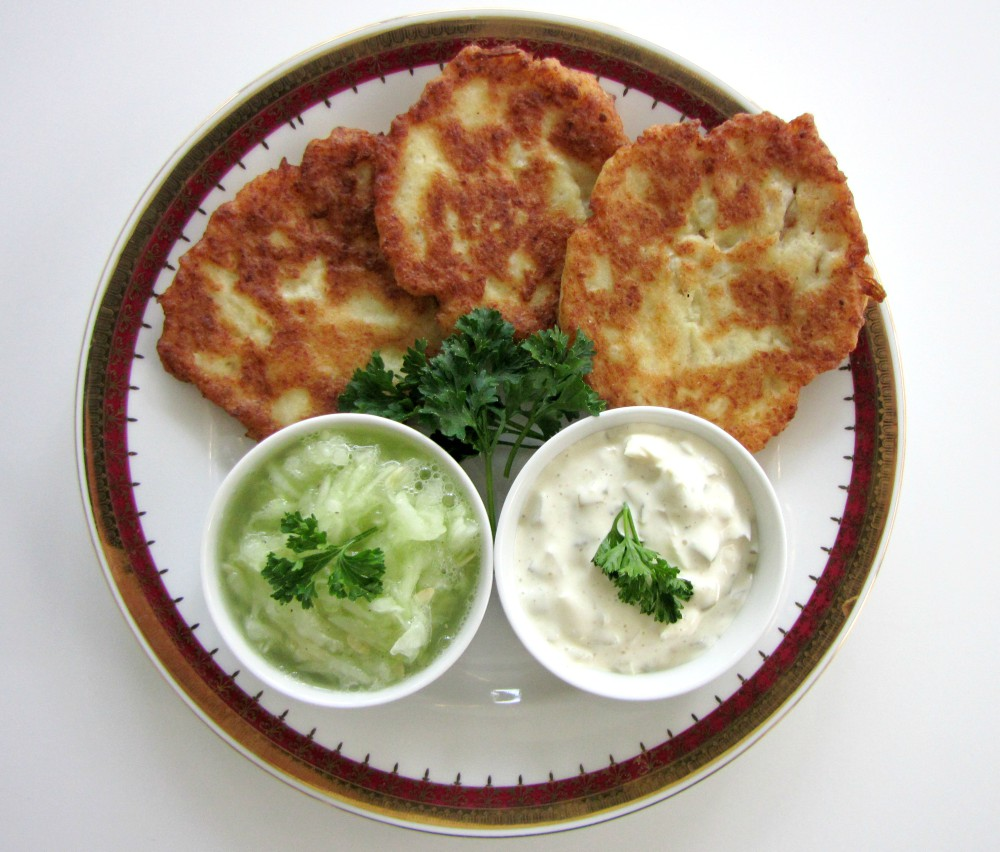 Cauliflower-Patties-and-Cucumber-Salad