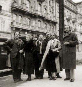 c. 1935, French and Czech surrealists in Prague - From left: André Breton, Jacqueline Breton, Karel Teige, Jindřich Štyrský, Toyen, and Paul Eluard.