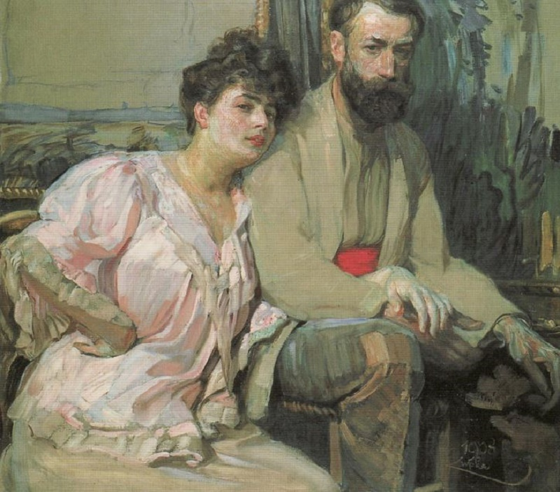 c. 1908, Self-Portrait with Wife.