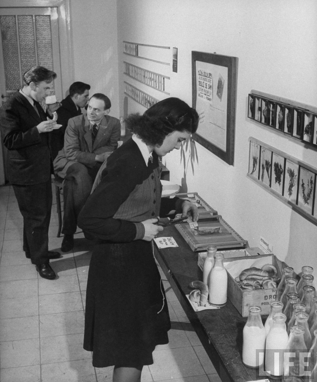 Charles University student clipping ration ticket for two bottles of milk and two rolls at cooperative milk bar run by the Science students.
