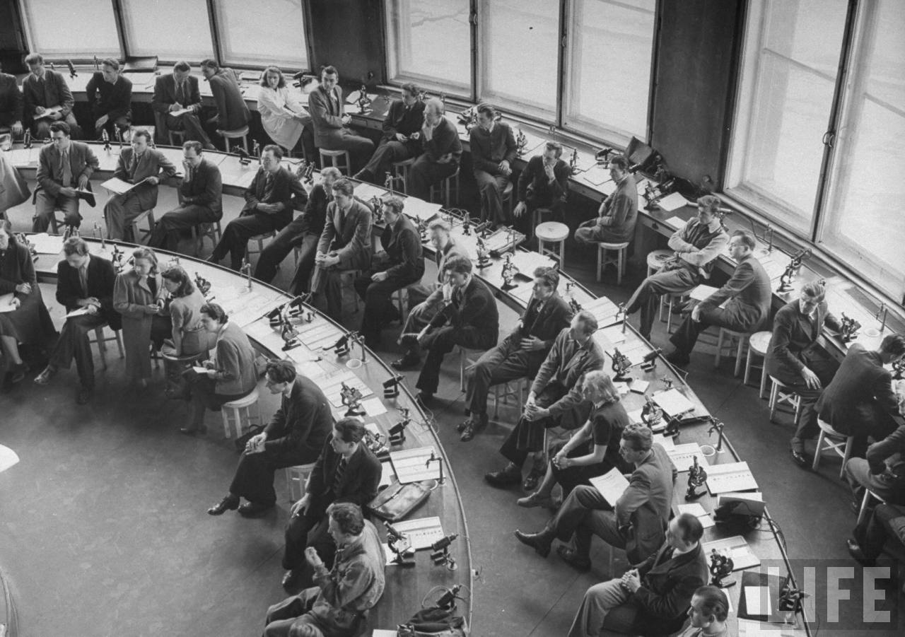 Medical students in workroom of Charles University.