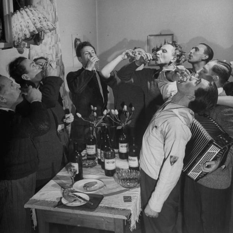 Charles University students drinking a toast