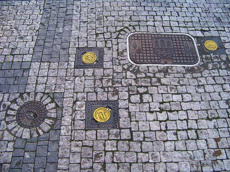Source: Wikipedia Commons. Prague, Old Town, the Czech Republic. Covers of gas pipelines.