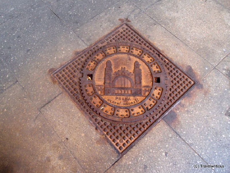 Source: Travelwrtitcus. Manhole cover at Prague main railway station