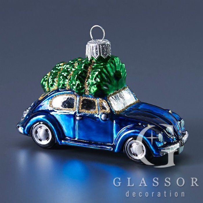 Blue Vintage Beetle With Christmas Tree Ornament Tres