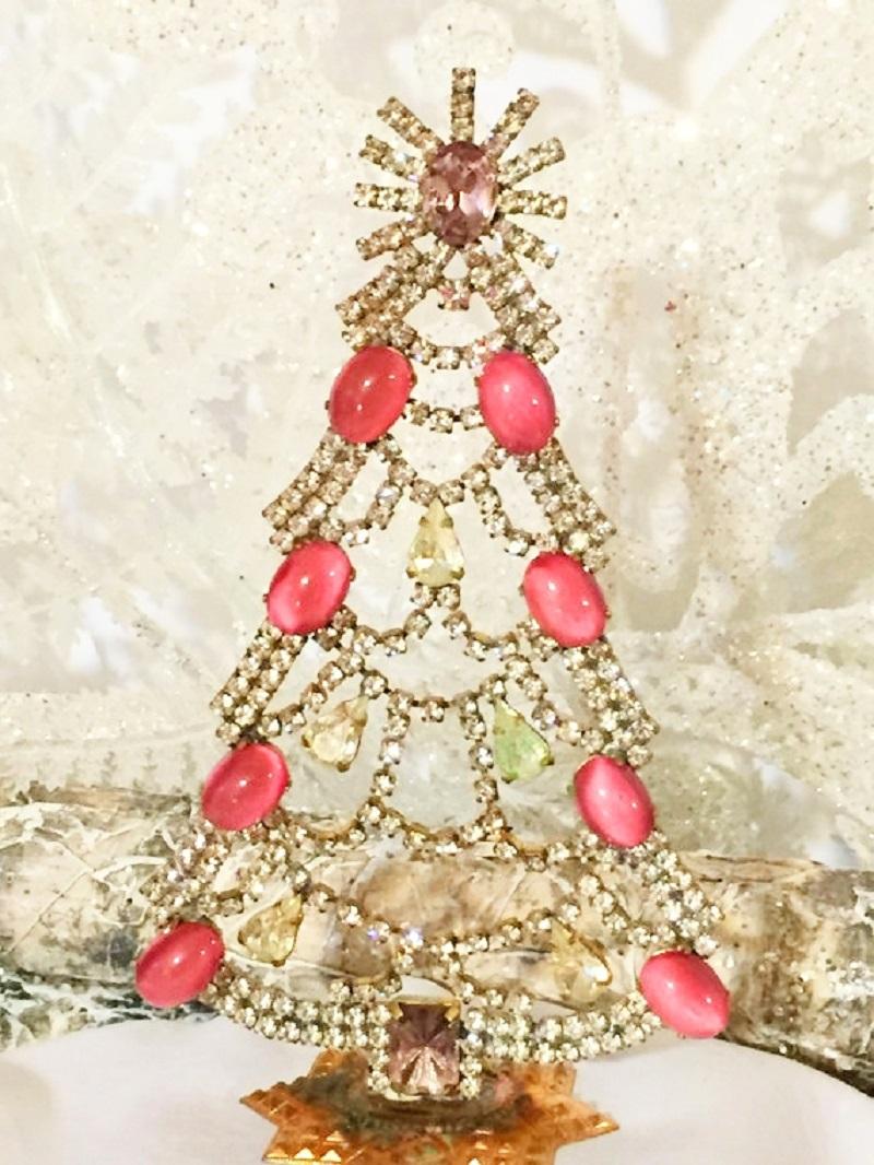 Vintage Czech Crystal & Rhinestone Christmas Trees