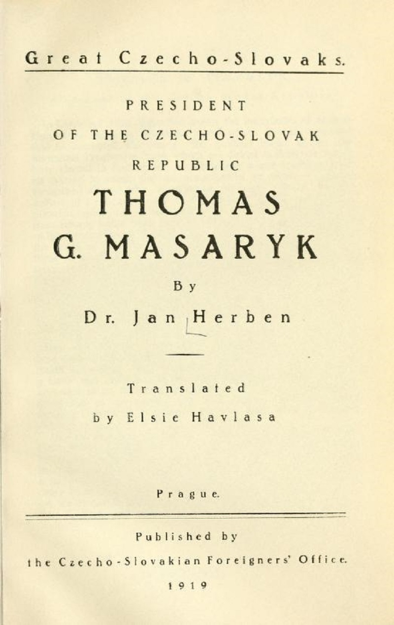 Biographical Sketch of Thomas G. Masaryk