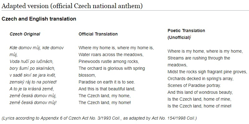 Old Czech Language and the National Anthem