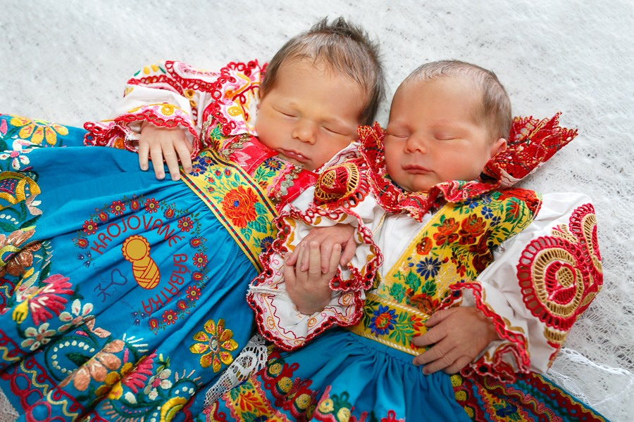 Sweet Sleeping Babies Clad in Slovak Kroje